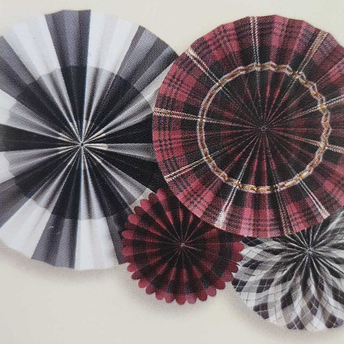 Plaid / Tartan Paper Fan - Pkt 4