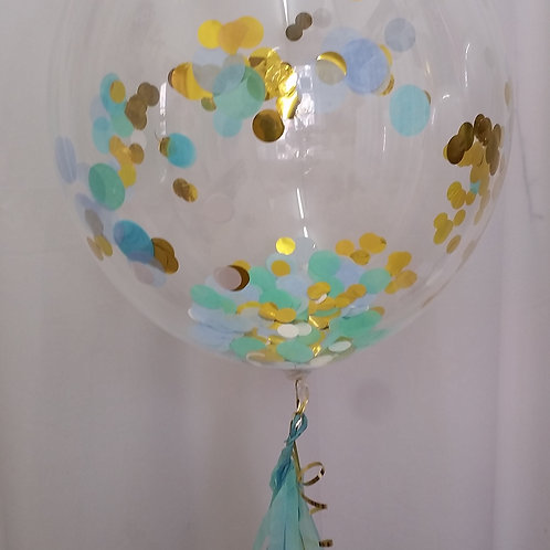 Bubble Confetti Balloon in gorgeous Gold, pale blue & mint - inflated + delivery