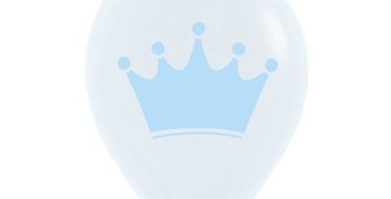 Blue Crown Print Helium Balloon 28cm
