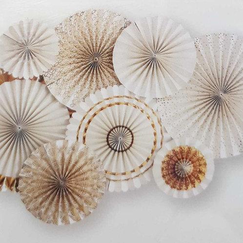 Gold Foil Accent Paper Fans - Pkt 8