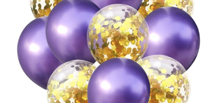 Confetti Balloon Chrome Purple and Gold Bouquet