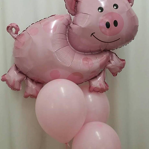 Pig Supershape Foil Balloon with Pink Balloon Kit