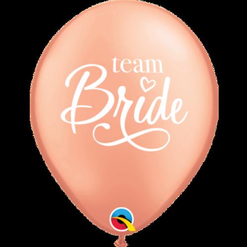 Team Bride Rose Gold 28cm Latex Balloon Pkt 1