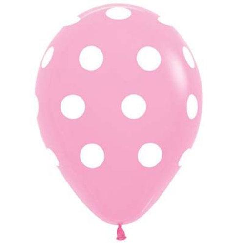 Polka Dot Print Latex Balloon Pkt 5