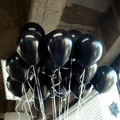 Black Balloons, Metallic 30cm - Pkt of 12