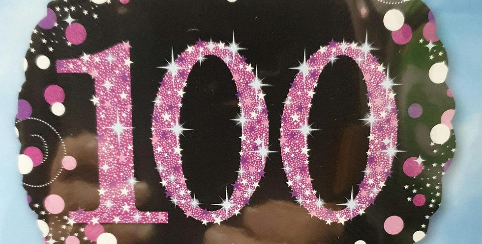 Birthday Foil 100th Pink