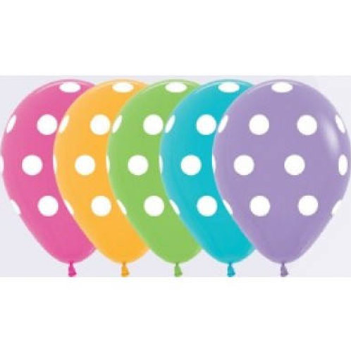 Polka Dot Balloons - Assorted Colours 30cm - Pkt of 5