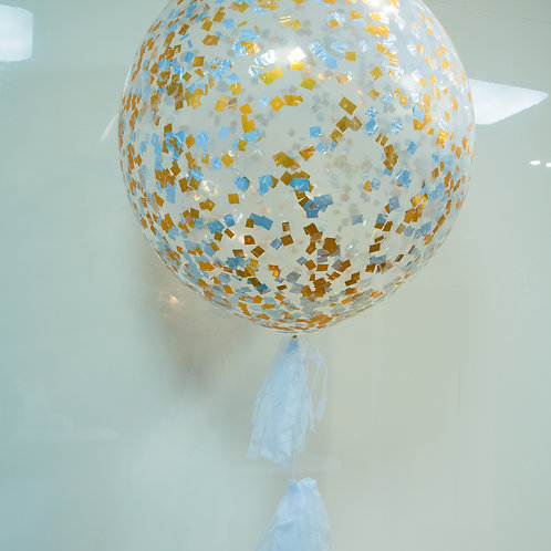 Giant Confetti Balloon with Balloon Tassels - inflated + Delivery Charge