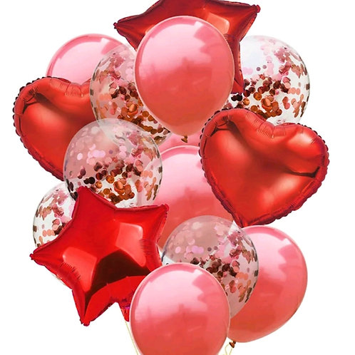 Confetti Balloon Red, Heart and Star Bouquet