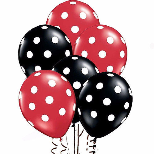 Polka Dot Balloons - Red & Black