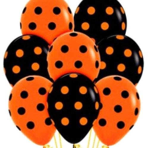 Halloween Polka Dot Balloons - 28cm - Pkt of 10
