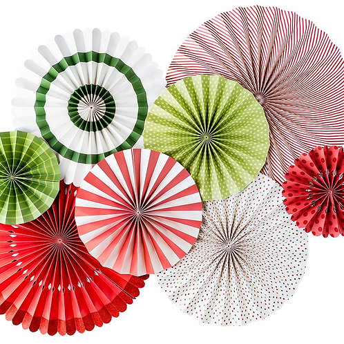 Christmas Paper Party Fans - Pkt of 8