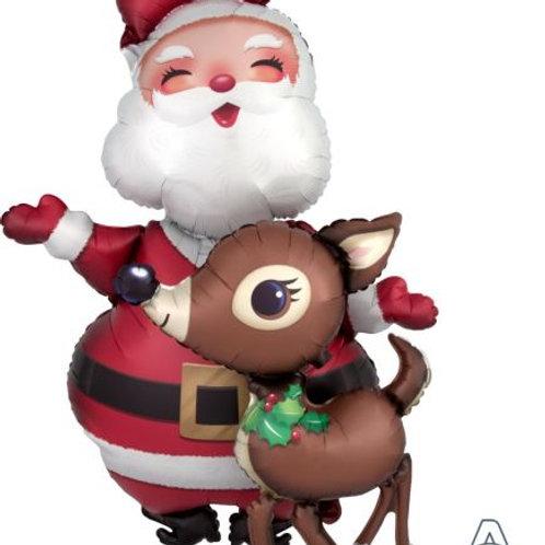Christmas Santa and Reindeer Airwalker