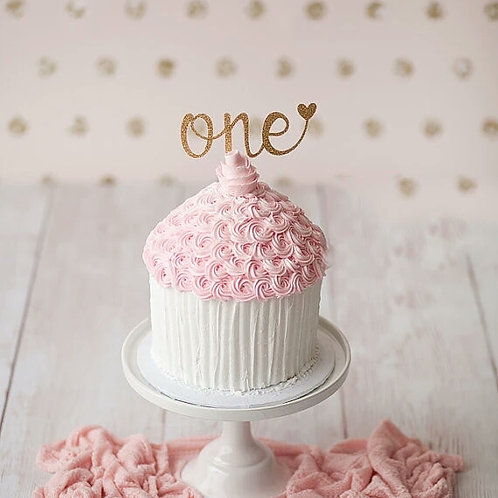 Gold One Cupcake Topper