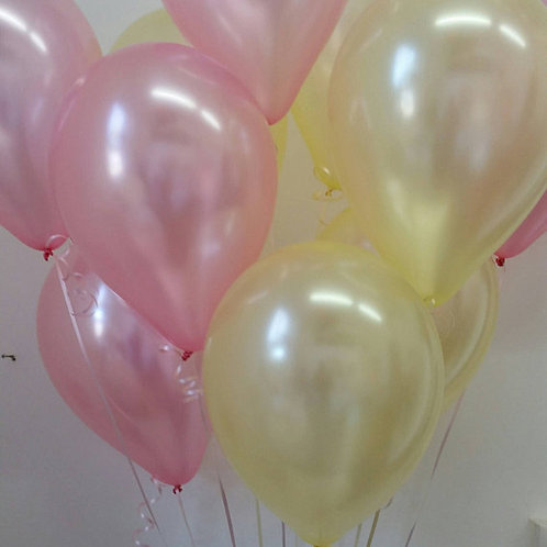 Pink & Yellow Balloons, Pearl 30cm - Pkt of 12