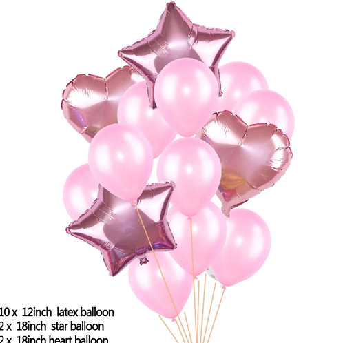 Balloon Pink and Rose Gold, Heart and Star Bouquet