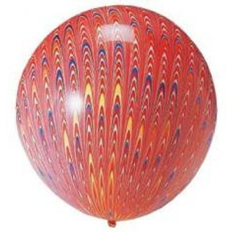 Peacock Balloon - Red - 18""