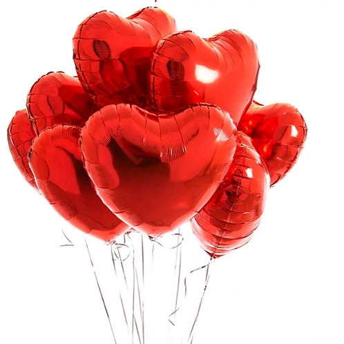 Red Heart Foil Balloons Pkt 10