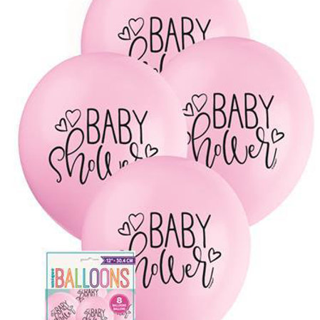 Baby Shower Pink Balloons - Pkt of 8/28cm