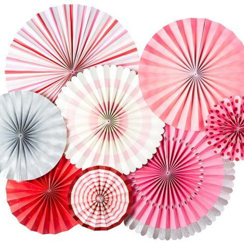 Pretty'n Pink Paper Fan Hanging Decorations - Packet of 8
