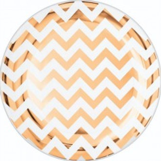 Rose Gold Chevron Plate Pkt 20 - Size 7""