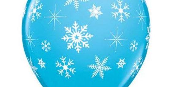 Snowflake Print Helium Balloon 28cm