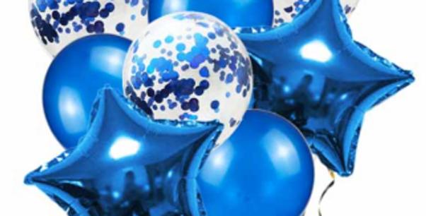 Confetti Balloon Metallic Blue Bouquet