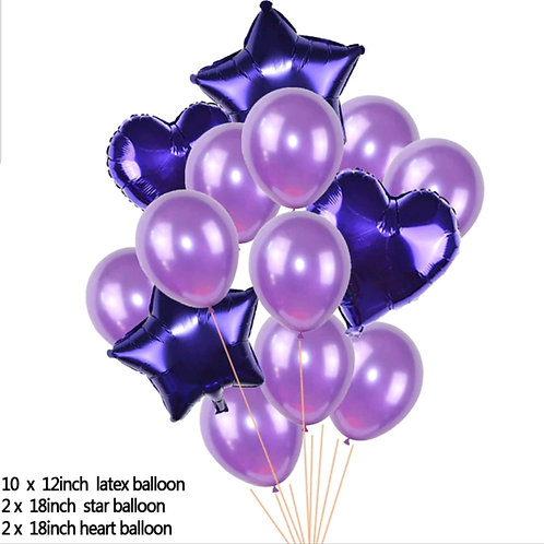 Balloon Purples, Heart and Star Bouquet