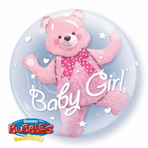 Clear Bubble Pink Bear Double Stuffed Balloon 24 inches