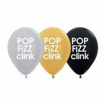 Pop Fizz Clink Metallic Balloons Pkt 6