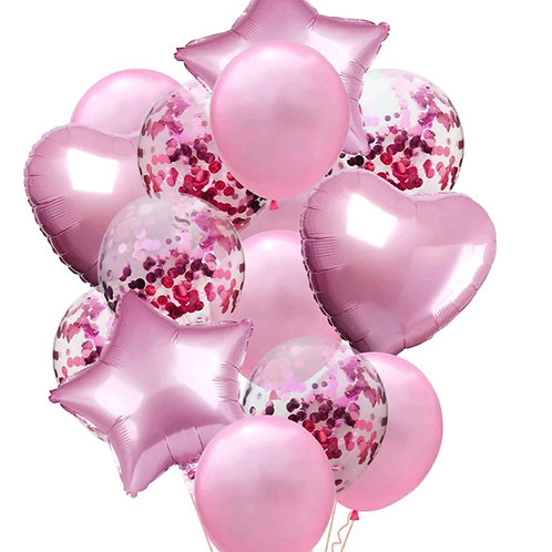 Confetti Balloon Pearl Pink, Heart and Star Bouquet