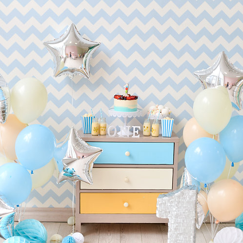 Pretty mix of Blush, Blue & Ivory Balloons with Silver Star Foils