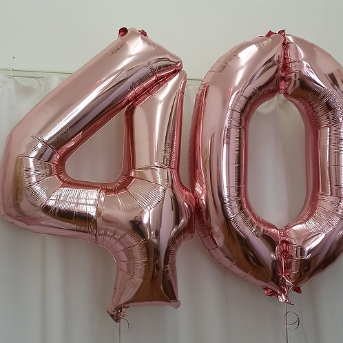 """Rose Gold 40th Supershape Foil Balloons 34"""""""