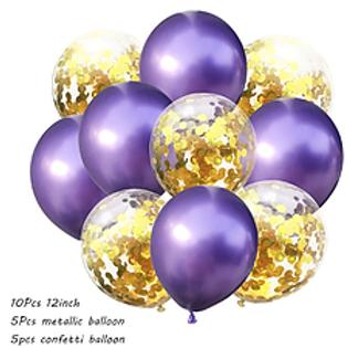 Confetti Balloon Chrome Purple and Gold Bouquet