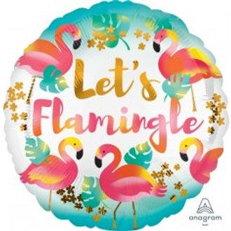 "Let's Flamingle Foil Balloon 18"""