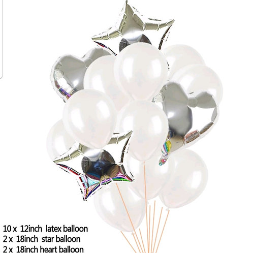 Balloon White and Silver, Heart and Star Bouquet