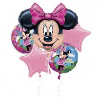 Minnie Mouse Foil Balloon Bouquet - Pkt 5