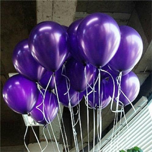 Purple Balloons, Metallic 30cm - Pkt of 12