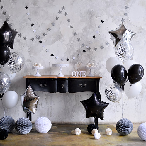 Smart Black, White & Silver Balloon Bouquets