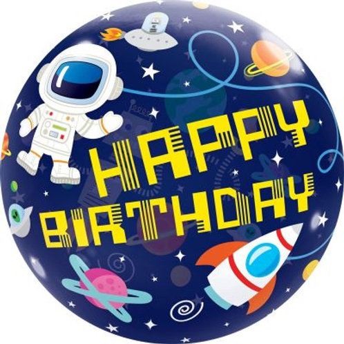 Space Happy Birthday Bubble Balloon