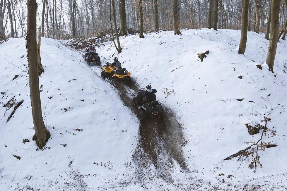 Driving ATV in Snow