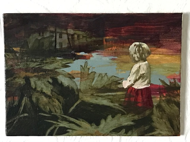 CAHILL Girl with leaves 7 x 5 ins oil mi