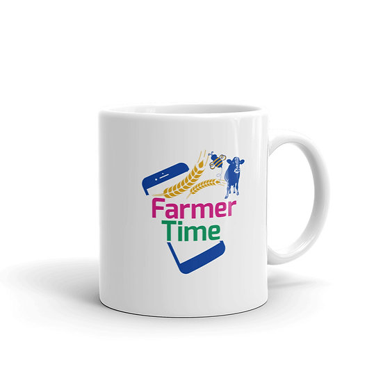 """Farmer Time White Mug """"Connecting Farms and Classrooms"""""""
