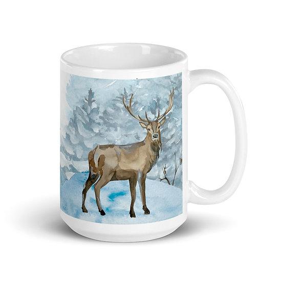 Winter Wonderland Deer Ceramic Mug 15 oz