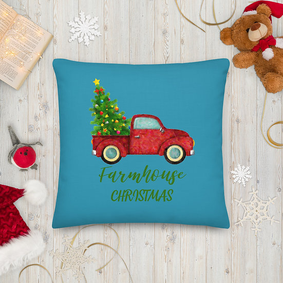Farmhouse Christmas Premium Pillow: Aqua