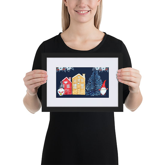 Gnome Village Christmas: Matte Paper Framed Poster With Mat