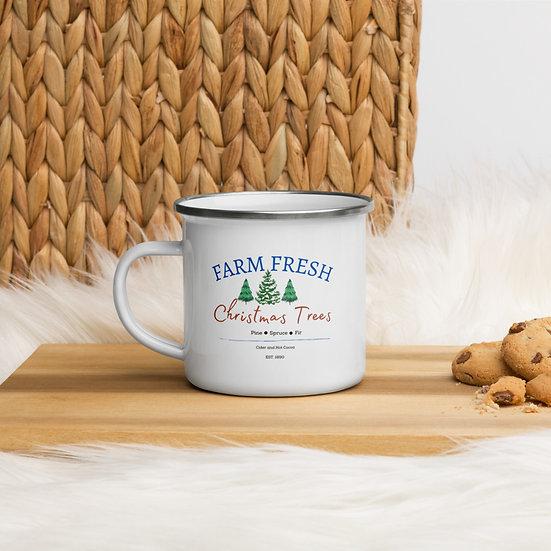 Farm Fresh Christmas Tree Enamel Mug 12 oz