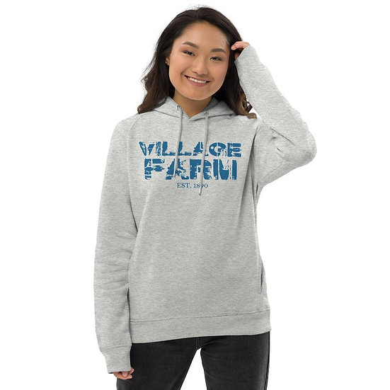 Village Farm Faded Unisex Pullover Hoodie: Organic & Recycled