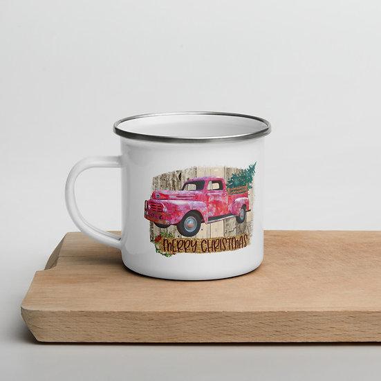 Merry Christmas Farm Truck Enamel Mug 12 oz