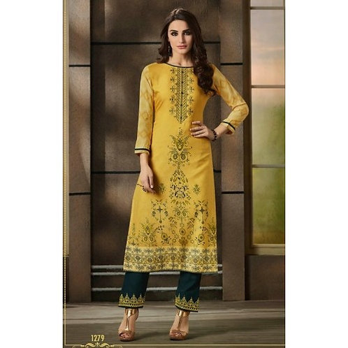 STRAIGHT FIT READY MADE KURTI WITH ANKLE BOTTOM